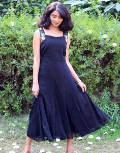 Raven Black Embroidered A Line Dressfrom the house of Anecdotes. Western Dresses, Frocks, Raven, Line, Classy, Formal, Casual, Black, Design