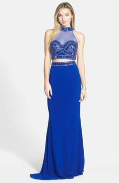 07d49c091aa Faviana Embellished Two-Piece Jersey Gown Prom Dresses