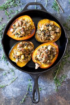 Caramelized Onion Sausage Stuffed Acorn Squash {Paleo & Caramelized Onion, Apple, and Sausage-Stuffed Acorn Squash {recipes entree caramelized onion apple sausage acorn squash vegetables} Vegetable Dishes, Vegetable Recipes, Vegetable Entrees, Sausage Stuffed Acorn Squash, Acorn Squash Baked, Cooking Recipes, Healthy Recipes, Acorn Squash Recipes Healthy, Stuffed Squash Recipes