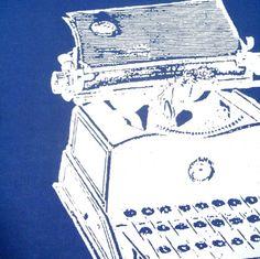 Antique Typewriter- Tea Towel- White on DARK BLUE, $8
