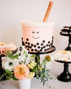 Any Boba tea fans in the house? Gotta see this adorable baby shower on … Baby Boy 1st Birthday, Sweet 16 Birthday, 16th Birthday, Birthday Cake, Donut Party, Tea Party, Boba Bar, Unique Baby Shower Themes, Popcorn Cake