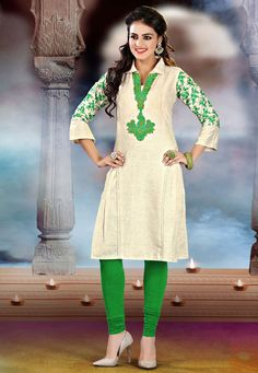 Redifine your traditional look wearing this gorgeous Cream Color Khadi Cotton #DesignerKurti which is accompanied with contrasting green color bottom. The kurti features masmerising floral embroidery on the yoke and sleeves #ethnicbazaar
