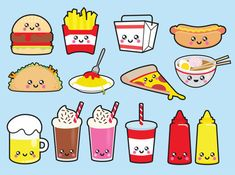 Premium Vector Clipart - Kawaii Junk Food Clipart - Kawaii Food Clip Art Set…