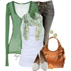 GREEN. and i really like the shoes. The wash of jeans is not me