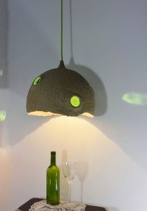 hand made lamp from paper pulp (paper mache),wood chip and bottles:)  www.mazuni.pl