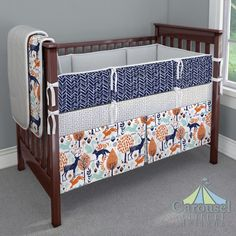 Crib Bedding In Navy And Orange Woodland Animals Silver Gray Minky Leaf