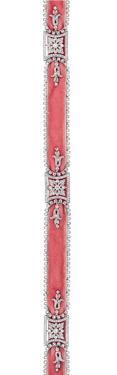 Belle Epoque Platinum, Diamond and Pink Velvet Choker Necklace, Cartier   signed Cartier, Paris, with maker's mark and French assay mark, circa 1910