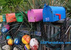 Beach Mail Boxes in on Cudjoe Key, FL. At Beach Bliss Living: http://beachblissliving.com/beach-mailboxes/