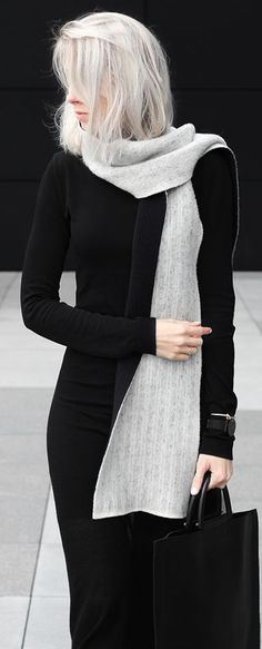 Black slacks or maxi skirt with black turtleneck and a stunning silver-gray knitted scarf