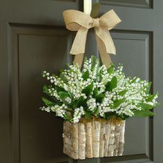 spring wreath lily of the valley wreath front door decorations wall decor wedding wreath birch bark vase