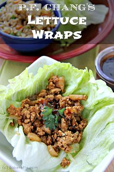 Copycat P. Chang's Chicken Lettuce Wraps A recipe for P. Chang's Chicken Lettuce Wraps. Why go out to eat when you can get the best of P. Chang's at home. Asian Recipes, New Recipes, Cooking Recipes, Healthy Recipes, Recipies, Healthy Meals, Copycat Recipes, Healthy Habits, Lunch Recipes