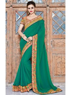 Glorious Combination Green Shaded Georgette Saree