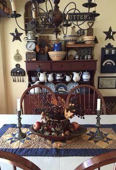 country primitive home tour Primitive Homes, Primitive Dining Rooms, Country Dining Rooms, Primitive Kitchen, Primitive Furniture, Country Primitive, Country Kitchen, Primitive Shelves, Country Sampler