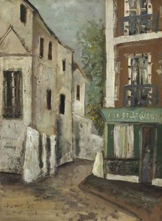 Maurice Utrillo (1883-1955):  La Belle Gabrielle à Montmartre. Oil on card laid down on canvas, signed and dated: 'Maurice. Utrillo. octobre 1912'. Sold at auction by Christie's, 2014.