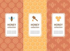 Honey label, logo, sticker design elements. Vector packaging template with seamless patterns. Warm color palette of golden tints