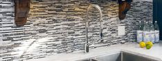 dark kitchen cabinets with light mosaic tile backsplash - Google Search