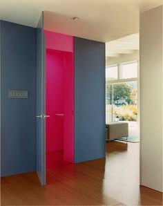 I always love when they paint interior closets or cabinets some crazy unexpected color.