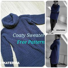 Coaty sweater - ByKaterina Source by Gilet Crochet, Crochet Coat, Crochet Cardigan Pattern, Crochet Blouse, Crochet Clothes, Crochet Sweaters, Crochet Bodycon Dresses, Black Crochet Dress, Knitting Patterns