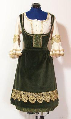 Vintage Dirndl mit Schürze, grün Brokat, Gr.44