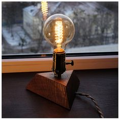 Lights & Lighting Light Bulbs Retro Table Light Single Socket Bedside Desk Lamp Wooden Base Creative Vintage Edison Light Bulb With Lamp Holder Smoothing Circulation And Stopping Pains