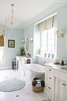 Aqua Bathroom | Clawfoot Tub | Chandelier | Lettered Cottage