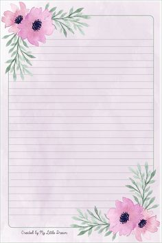 Printable Lined Paper, Free Printable Stationery, Lined Writing Paper, Journal Paper, Stationery Paper, Paper Frames, Card Patterns, Note Paper, Paper Decorations