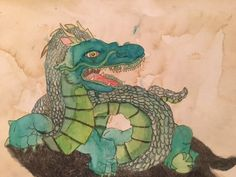 """""""Turquoise Head Dragon"""" by Jorge M., first place, middle school watercolor, Texas Renaissance Festival School Days Art Competition, 2015"""