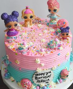Happy Sunday! how cute is this LOL Surprise Doll cake . . . . . #lol #lolsurprise #birthdaycake #birthdayparty #love #pastelcolors #pink #teal #sparkles #sprinkles