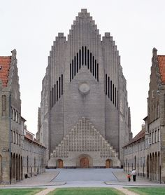 """Peder Vilhem Jensen-Klint's Grundtvig's Church in Copenhagen. Begun in 1927, his """"Expressionist church brorrows heavily from traditional Danish ecclesiastical architecture, an example of which is its crow stepped gable."""""""