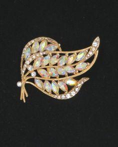 Vintage AB Rhinestone Gold Tone Leaf Brooch by LeesVintageJewels