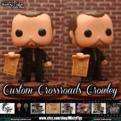 This kitbash funko modification is approximately 3 3/4 inches tall and is customized to resemble King of the crossroads and hell Crowley of the Supernatural fandom. Since these are hand painted with hand sculpted details there may be slight variances in exact finished product as skin tone and clothing shade varies slightly with Funko pop figures as well as custom details for each hand piece. Figure is sent in an original Crowley Funko box. **This is a custom made to order item so please see the Funko Pop Supernatural, Supernatural Fandom, Funko Pop Figures, Pop Vinyl Figures, Custom Funko Pop, Funk Pop, Pop Dolls, Crowley, Superwholock