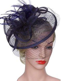 d94564ef Vijiv Women Vintage Derby Fascinator Hat With Veil Pillbox Headband Feather  Cocktail Tea Party at Amazon