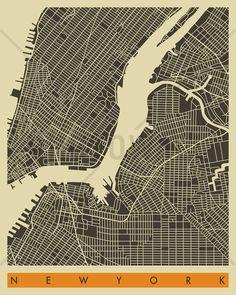 City Map - New York - Wall Mural & Photo Wallpaper - Photowall