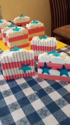 Glycerin Bars with stars and stripes scented with fresh grass and applejack.  Happy 4th!