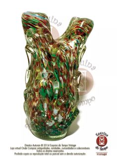 original vaso antigo de murano multicolorido anos 50