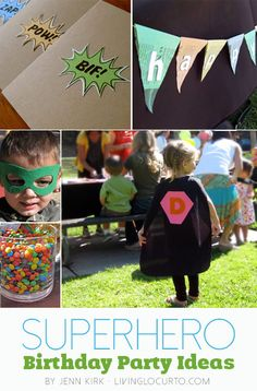 Fun ideas for a superhero birthday party. Free printables, party invitation, masks and capes. Great DIY craft ideas. LivingLocurto.com