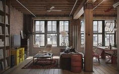 Interior Home Design Architecture. Splendid Industrial Home Design Ideas. Remarkable Industrial Loft Design Ideas With Wooden Floor And Brown Brick Exposed Walls And Stylish Furniture Together With Ceiling Fan. Industrial Home Design Loft Estilo Industrial, Industrial Interior Design, Industrial Interiors, Industrial House, Industrial Style, Industrial Windows, Industrial Apartment, Industrial Furniture, Industrial Kitchens