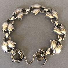 Gallery 925 - Georg Jensen Tulip Bracelet No. 100B. Handmade Sterling Silver. #ClayJensenSterlingSilver #SterlingSilverBracelets