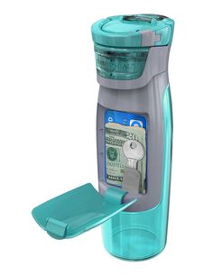 So smart! Water bottle that holds all of your keys, cards, etc.