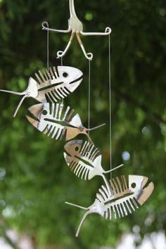 Rustic Bonefish Upcycled Flatware Windchime Rustic by NevaStarr