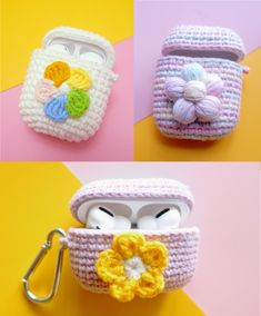 Crochet Airpods Case with Flower, different style, which one you would pick? Crochet Case, Cute Crochet, Crochet For Kids, Knitting Projects, Crochet Projects, Crochet Keychain Pattern, Crochet Dolls Free Patterns, Beaded Boxes, Airpod Case