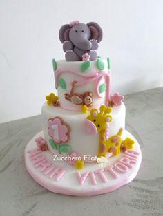 Baby girl safari cake