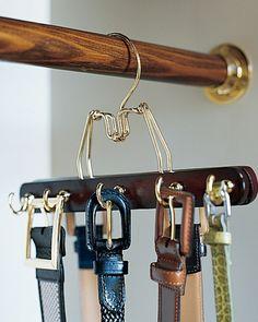 DIY belt holder, cup hooks and pants hanger!