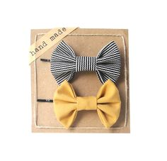 Mustard and Black Stripes  Set of Two Bow Bobby Pins by Fr33na, $9.99