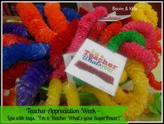 teacher appreciation leis What's your superpower Teacher Appreciation Breakfast, Teacher Appreciation Week, Employee Appreciation, Your Teacher, Teacher Gifts, Teacher Lunches, Luau Theme, Superpower, Leis