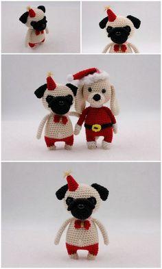 Amigurumi Pug Dog Free Crochet Patterns – Free Amigurumi Patterns Crochet Amigurumi Free Patterns, Free Crochet, Crochet Hats, Eye Details, Hello Dear, Amigurumi Toys, Pugs, Stitch, Sewing