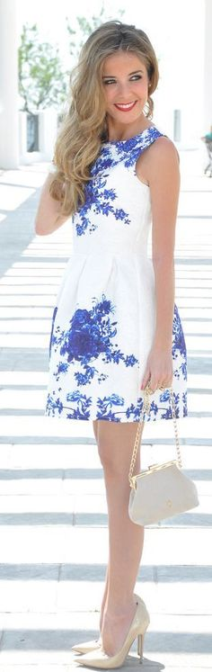 Blue floral print white mini dress fashion style
