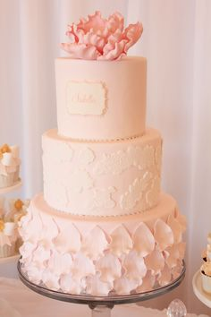 Gorgeous Lace Petal Christening Cake by Sweet Bloom Cakes