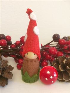 Sold through Etsy (simply little craft). Christmas Crafts, Christmas Ornaments, Mario And Luigi, Dollhouse Dolls, Wet Felting, Felt Art, Gnomes, School Store, Magic Forest