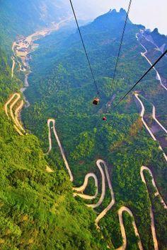 Switchbacks Mount Tianmen Hunan China